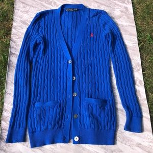 Polo Ralph Lauren Blue Cable Knit Cardigan Sweater